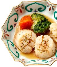 北海道産帆立のガーリックバター焼き